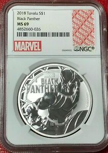 2018 P TUVALU NGC MS69 MARVEL BLACK PANTHER WHITE CORE $1 .9999 SILVER COIN