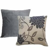 SET OF 4 CUSHION COVERS 2 X FLORAL GREY AND CREAM 2 X SMOOTH GREY VELVET £9.95