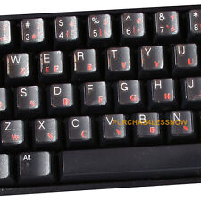 2 x FRENCH KEYBOARD STICKERS TRANSPARENT Anti reflection coating - letters RED