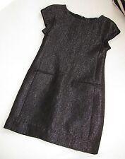 $385 THEORY Black Metallic Sparkle Shift Dress SEASONLESS Day / Night LBD 2 YOOX