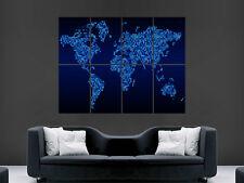 POSTER Mappa del mondo digitale Stile Look Arte Muro Foto Gigante Poster