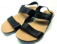 BareTraps Black Melody Wedge Sandals Sling Back Slip On Women's Size 8