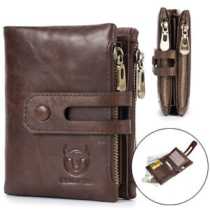 Mens Women Wallet Genuine Leather RFID Credit Card Bifold w/ Zipper Coin Pocket