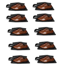 10x Travel Shoe Bags Portable Nylon Storage Shoe Bag For Men & Women (Black)