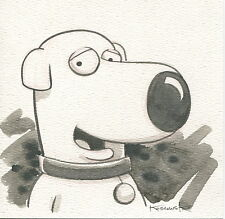 Family Guy Brian OOAK Original Hand Inked Illustration Drawing Signed COA pj