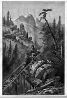 LOGGING TIMBER SHOOTING A FLUME IN THE SIERRA NEVADA 1877 LOGGERS PERILOUS RIDE