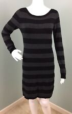 NWT Womens French Connection L/S Black & Gray Striped Sweater Knit Dress Sz 8