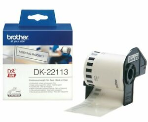 Brother GENUINE 22113 DK-22113 Continuous Film Tape Black on White 62mm x 15m