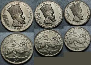 "1930-1931 Empire of Ethiopia THREE COIN SET ""10, 25 & 50 Matonas"" HAILE SELASSIE"