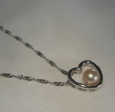 """14K White Gold Cultured Peach FW Pearl Heart 18"""" Necklace/Pendant NEW 2.5 grams"""