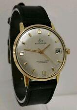 Vtg Bucherer Certified Chronometer Gold Plate Gents Date Dress Wrist Watch 35mm