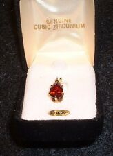 5 ct CZ Ruby Ice Pear Shaped Pendant set in Yellow Gold MIB