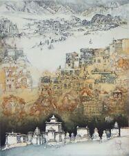 JORG SCHMEISSER-Polish/German Artist-Hand Signed LIM.ED Etching- Townscape
