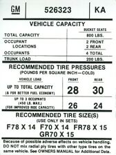 1976 77  FIREBIRD TIRE PRESSURE DECAL