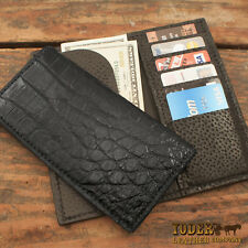 Black Alligator Rodeo Checkbook Wallet Amish Made Genuine Gator Skin Tall Wallet