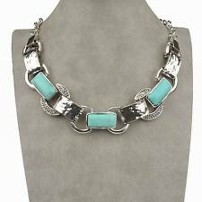 Tibet Silver Natural Turquoise Bib Collar Tennis Pendant Necklace Graceful