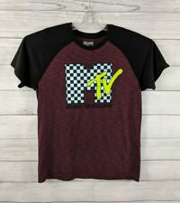 MTV Music Television Men's Size L Short Sleeve Crew Neck Shirt PLUM PURPLE