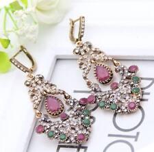 Women Turkish Earring Dangle Jewelry Pink Stone Islamic Vintage Arab Retro Gift