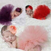 Sweet Newborn Baby Girls Tutu Skirt & Flowers-Headband Photo Prop Costume Outfit