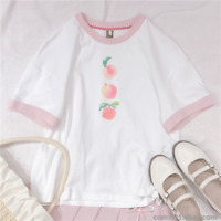 Loli Girl Cute Peach Print Small Fresh Sweet Japanese Short Sleeve T-shirt Tee