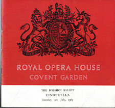BOLSHOI BALLET - CINDERELLA - RAISSA STRUCHKOVA - COVENT GARDEN PROGRAMME (1963)