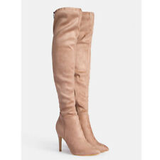 Womens Ladies Stretch Over The Knee High Heel Lace Thigh BOOTS Shoes Size 2-7 UK 6 Beige