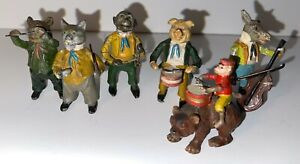 OLD Animal Band Cat Pig Donkey Bear Monkey Cold Painted lead German Georg Heyde