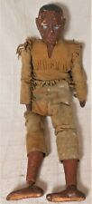 Great Large Antique Carved & Painted Jointed Folk Art Indian Figure In Buckskin
