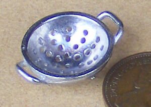 1:12 Scale Unpainted Metal Pewter Colander Tumdee Dolls House Kitchen Accessory