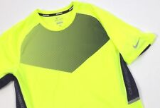 Nike Running Mens Race Day Neon Yellow Black Short Sleeve Shirt Top Medium