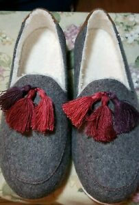 NIB Spenco Hearthside Women's Slipper Shoes In Grey Shearling Lined Sz 10 Wide