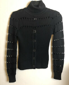 *DFSS* Bazar de Christian Lacroix Size Small 100% Wool Ribbed Polo Neck Jumper
