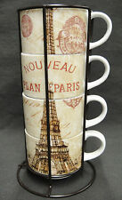 Pier 1 Set of 4 Paris Stacking Coffee Mugs in Stand Eiffel Tower Nouveau Plan