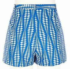 Z NWT RIVER ISLAND GEOMETRIC AZTEC PRINT BLUE WHITE HIGH WAISTED SHORTS 10 6 38