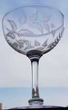 Lovely Victorian  Hand Engraved & Blown Crystal CHAMPAGNE COUPES Polished Pontil