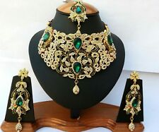 Schmuckset Marokkanisch Schmuck Set Grün Gold Indien Kette Collier Arabisch neu