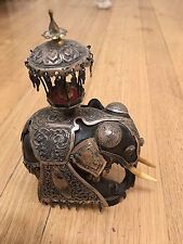 "Antique 7""  Elephant Sterling Silver  Ebony Wood 925 Figurine"