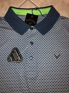 Callaway Opti-Dri Golf Shirt Men 2XLT Real Teal Allover Chevron UPF Stretch NWT