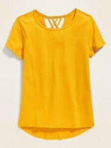 NWT Old Navy Girls Shirt Top yellow marigold string back S small 6/7