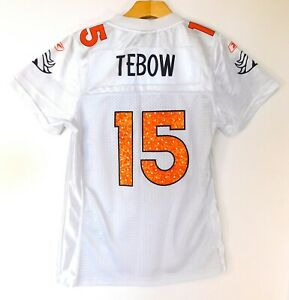 DENVER BRONCOS TIM TEBOW #15 JERSEY White NFL Football REEBOK WOMEN'S MEDIUM