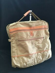 Vintage HARTMANN Tan Canvas / Nylon / Leather GARMENT BAG with insert -two total