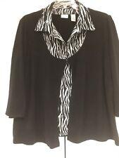 Kim Rogers Sweater 3x Sweater Shirt Combo 3/4 Sleeve Black with Zebra Print EUC