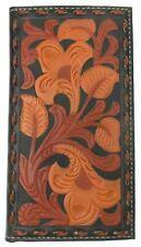 Nocona Mens Floral Embossed Tan Black Leather Rodeo Wallet Checkbook Cover Slim