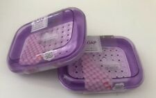 2 x Soap Box Dish Soap Container-Pearl-Surface-holder-Bathroom-Set-Purple