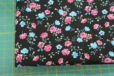 100 % Cotton fabric ~ Black with pink, blue, flowers, green leaves ~ BTY