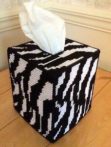 Zebra Print Tissue Cover handmade Boutique size black & white