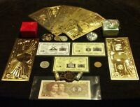<22Pc.LOT>JADE Charm+7 GOLD rep*Banknotes/ FOSSIL/US&World/ 1 SILVER-Bars& MORE!