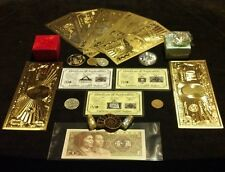 <22Pc.LOT>JADE Charm+7 GOLD rep*Banknotes/ FOSSIL/US&World/ 3 SILVER-Bars& MORE!