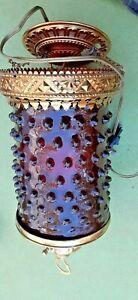 Vintage ruby red hobnob chandelier brass trim  light pendant ceiling swag lamp
