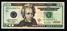 Fancy LOW # EE00000675A $20 Birth Month/ Year note, Uncirculated June 1975 6/75